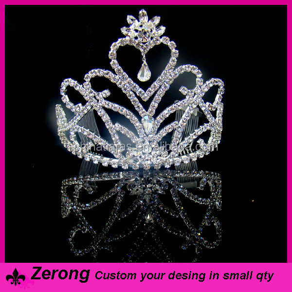 Wholesale spark heart shape girls tiara and crwon rhinestone carnival tiara crown