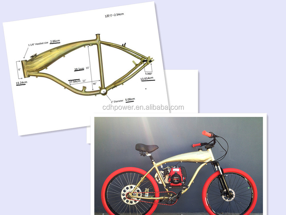 colorful aluminum alloy bike frame with 2.4L gas tank built in
