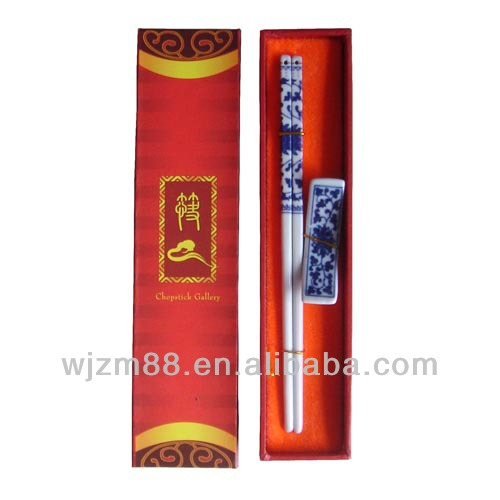 1 pair set ceramic chopsticks with gift box