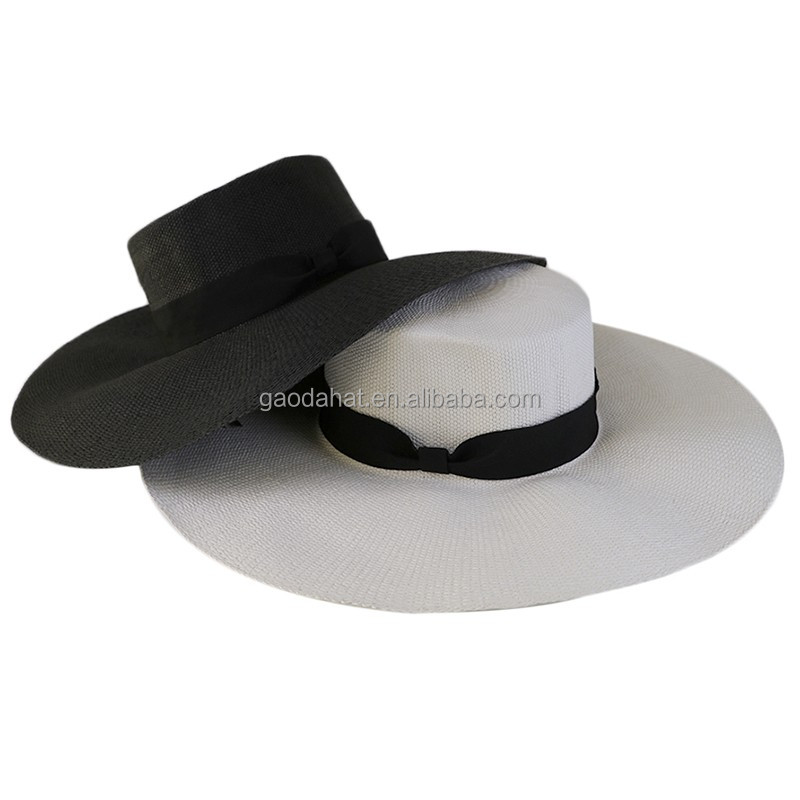 Wholesale Custom Flat Top Lady Paper Straw Hat