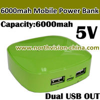 Designed for Fashion Lady! 6000mAh Cell Phone Power Bank Chargers with Dual USB