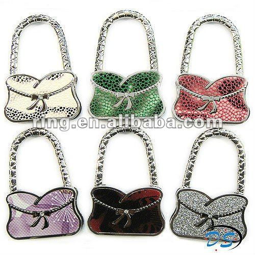 Fashion Bowknot flower crystals handbag Purse Hook Bag Hanger
