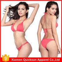 Fashion cheap strappy halters peach red india sexy girls photos bikini