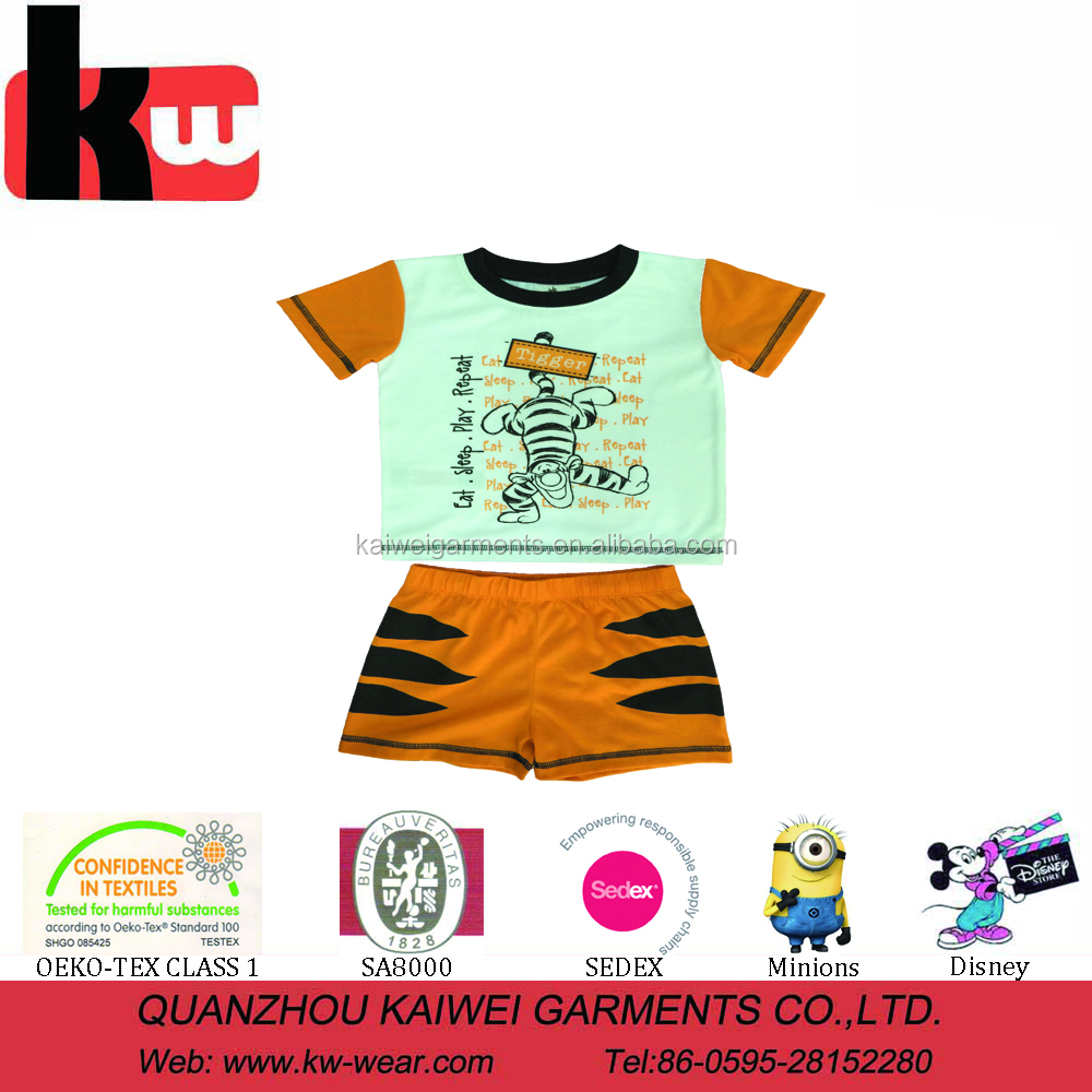 China supplier OEM 2 pcs sets printing t-shirt pants cotton child wear