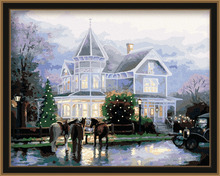 2016 framed castle diy oil painting by numbers for home decoration 5013