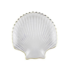 Amazon hot crystal ocean series lead free conch shape with gold rim and shell glass <strong>plate</strong>
