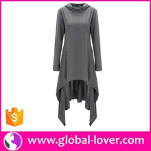 Ladies Long Sleeve Short Front Long back Tops Latest Fashion Long Top Design