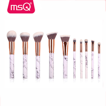 MSQ cosmetic brushes New Arrival private label 10pcs synthetic hair Marble handle MakeUp Brush Set For Sale