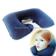 air beds pillow U shape air conditioning pillow, air filled pillow for traveling,flocking pvc air bed pillow