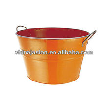 Orange Round Galvanized Steel & Power Coating Beverage/beer Ice Bucket With Handle Metal Wash Tub