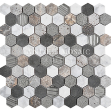 marble with glass hexagon 3d looking mosaic tile