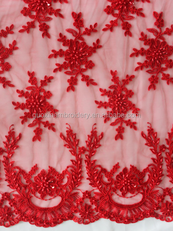 2014 Wholesale Latest Red French Lace for Wedding Gown