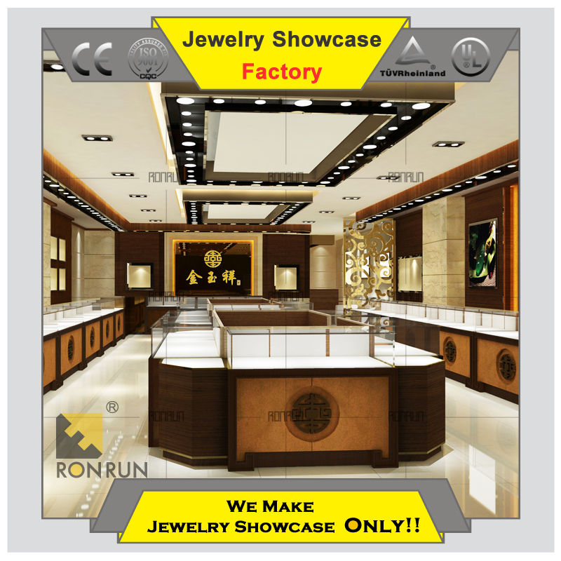 Used ultra clear tempered glass jewelry wooden display showcase shopping kiosk for sale