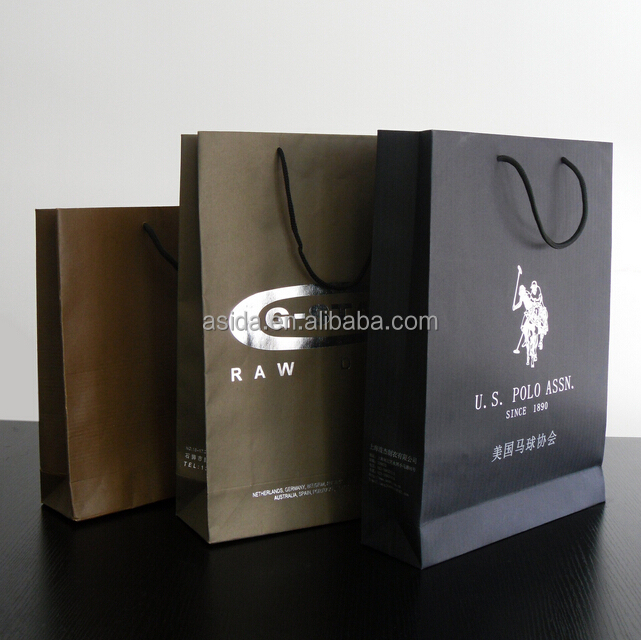 High quality cheap custom shopping Kraft paper bags customized printed LOGO clothing bag Small jewelry handbag