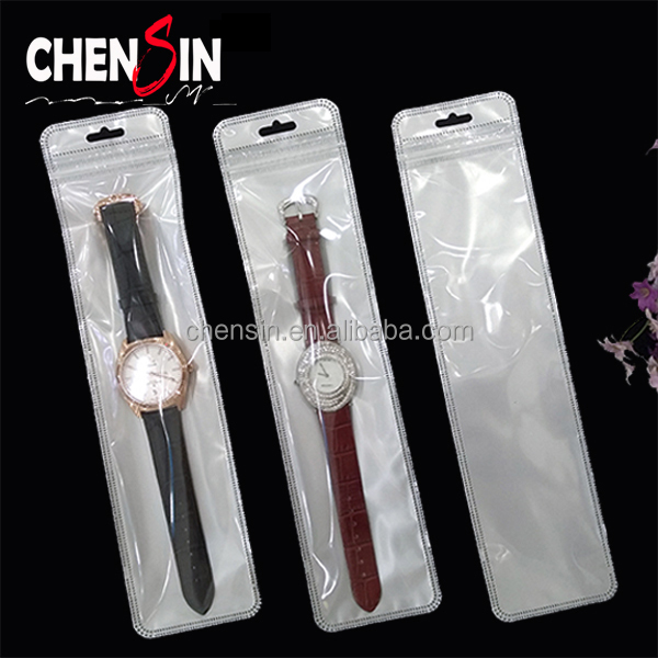 6*25.5cm Zip lock bags for watches strap PVC Plastic Reclosable thin bags Hanging self sealing poly bag