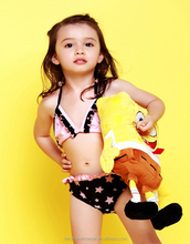 Factory wholesale hot ruffle hit color star triangle sexy kids bikini girls