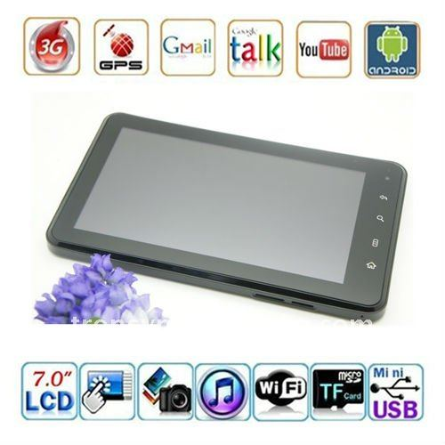 7 Inch 16:9 TFT Capacitive touch screen Tablet Pc Support 3G/WIFI/Bluetooth/HDMI/GSP