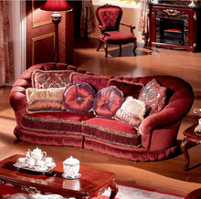 Luxury French Versailles Red Velvet Three Seat Couch, Noble Palace Style Three Seat Sofa BF11-11302a
