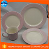dinnerware pink white/ cute dinnerware/ easy life dinnerware