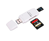 2 in 1 USB 3.0 Memory Card Reader Writer with a Build-in Card Cover 2 Slots SD TF Card for SD Micro SD TF memory cards MK1538