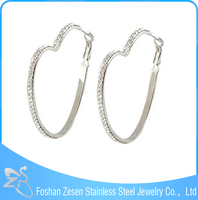 ZS17113 surgical steel fashion crystal earring heart shaped big jhumka earrings