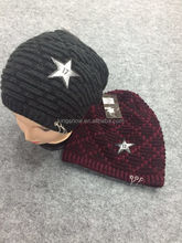 hand woolen pattern winter knitting mens masonic skull caps with leather logo