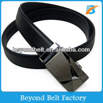 Beyond New Design Man's Official Black Real Leather Ratchet Belt with Simple Automatic Buckle