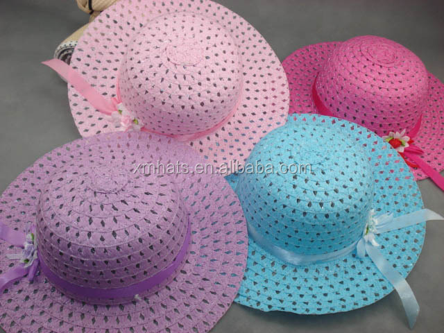 Factory in Zhejiang China hotsale white paper children straw hat with flower