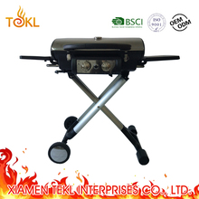 Portable Porcelained Cast Iron Propane Gas BBQ Barbeque Grills with Folding Trolley Cart for Camping Outdoor Kitchen Equipment