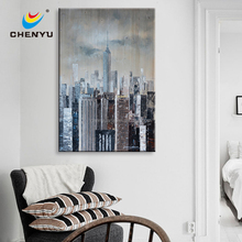 Cold Colour Modern City 100% Handpainted Oil Painting Art Canvas Print Wall Home Decor Unframed Framed