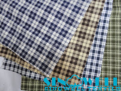 pure cotton 40x40 120x80 yarn dyed shirting fabric in plaid and stripe design