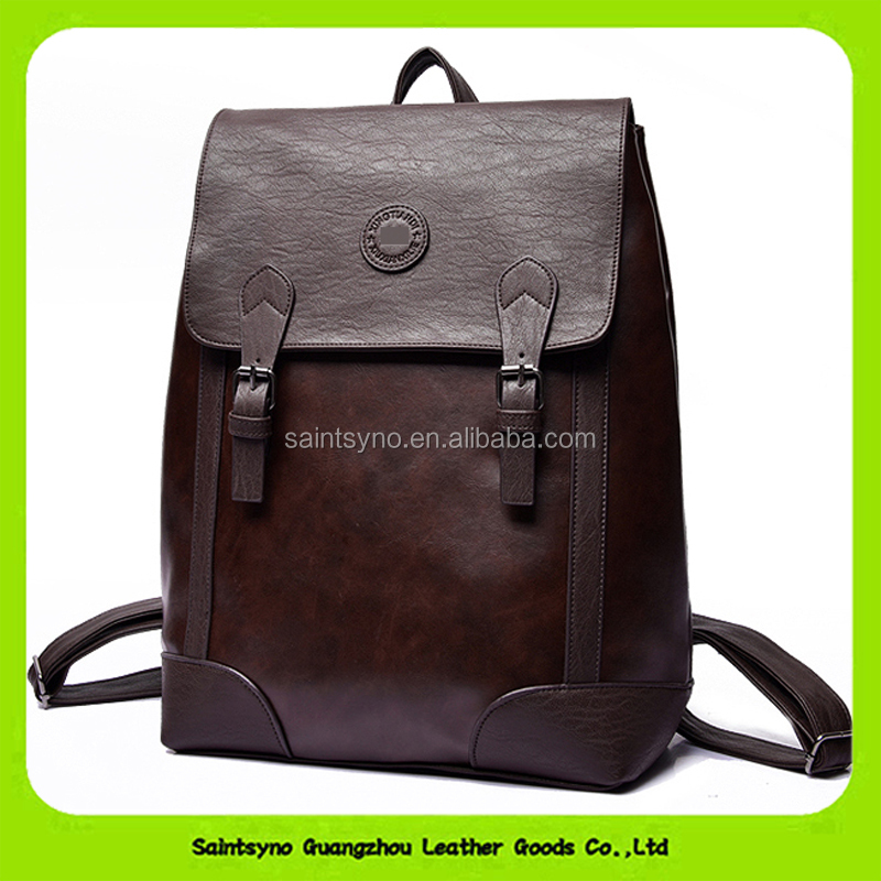 16655 Italian leather vintage full grain real natural leather backpack for unisex