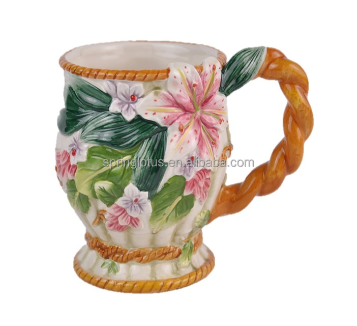 Classic Ceramic Dolomite Hand-painted Vase with handle