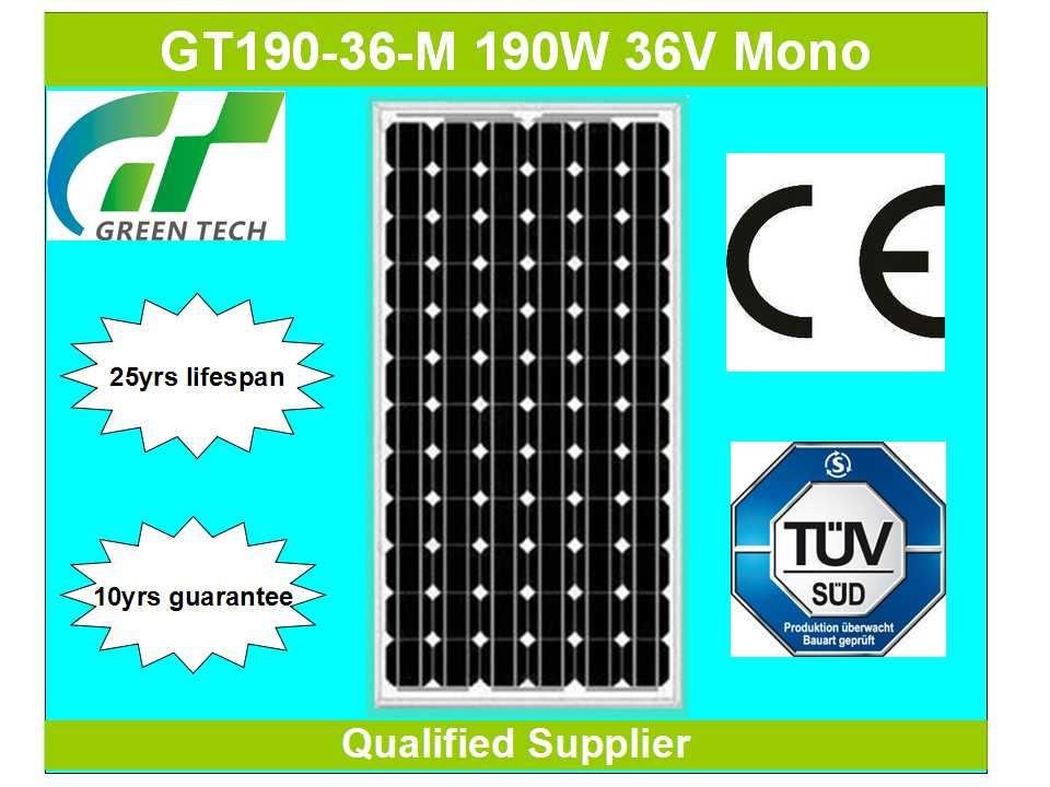 GT195-36-M 195W 36V cheap solar panel for Bangladesh market
