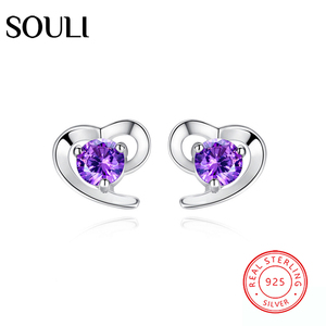Costume Jewelry S925 Sterling Silver Crystal Earrings, Amethyst Heart Stud Earrings
