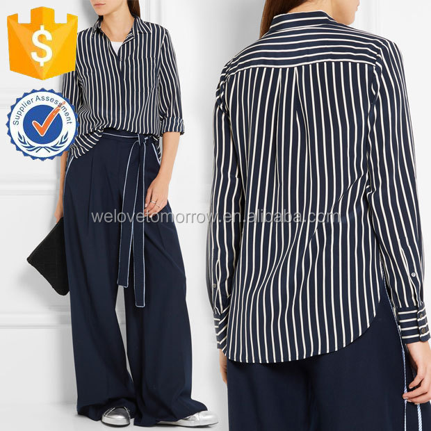 Midnight-blue and Off-white Striped Silk Crepe De chine Shirt Manufacture Women Wholesale Fashion Women Apparel(TS0040T)