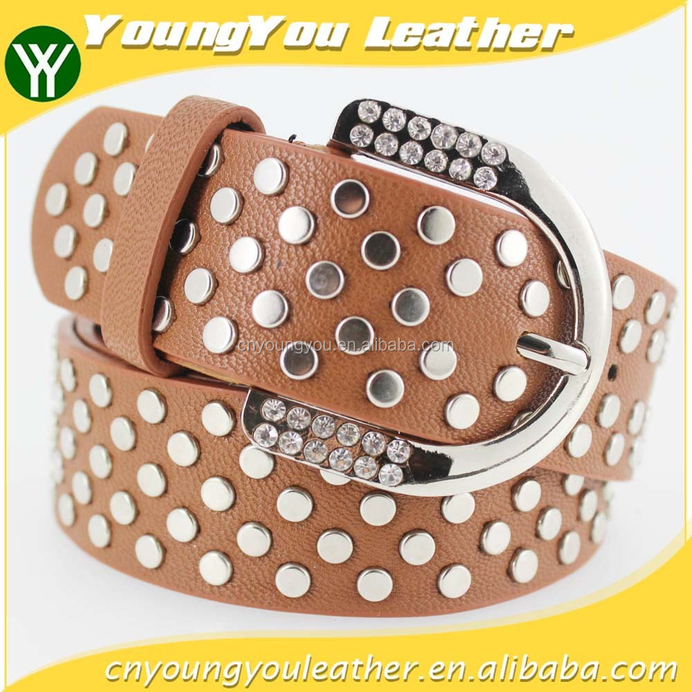 Women FULL flat metal fashion PU beaded belts with shiny rhinestone accessories for jeans
