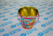 bucket metal tin can with handle printed gold color, cookie tin can