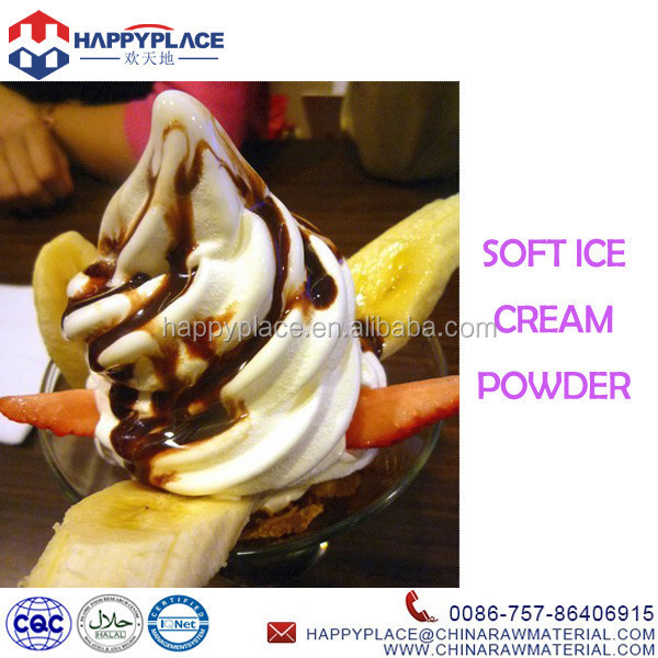 Popular Summer Dessert Soft Ice Cream with Fruits and Chocolate Sauce