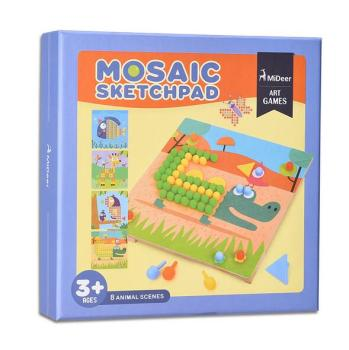 Mideer Mosaic wood nail children mushroom nail combination fight board jigsaw puzzle baby educational toys