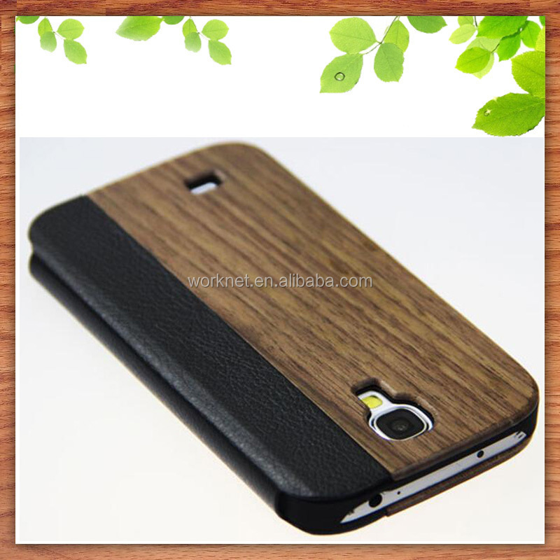 Shenzhen factory wholesale for samsung galaxy s4 walnut wood phone case ,wood leather flip cover case for Samsung Galaxy s4