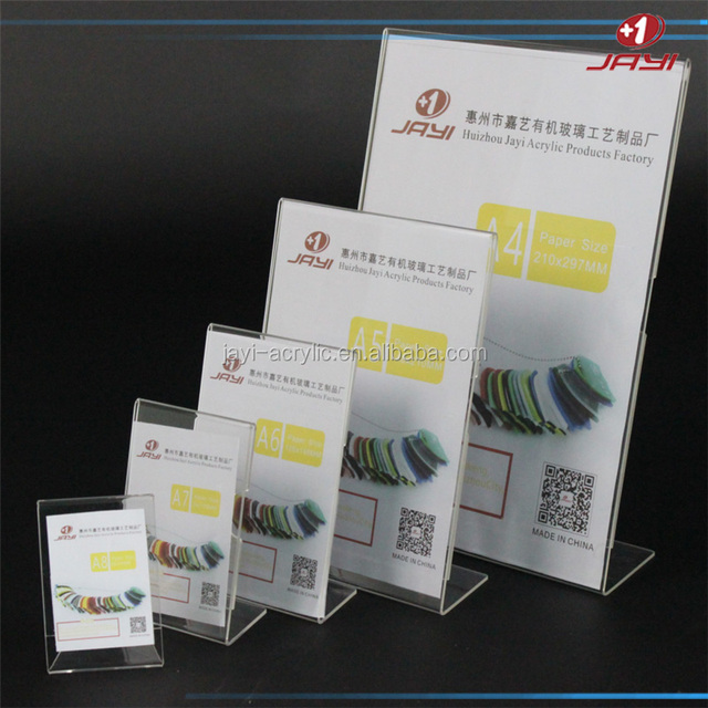 Customized Acrylic table menu price Sign Holder A4 paper size signs menu card photo frame