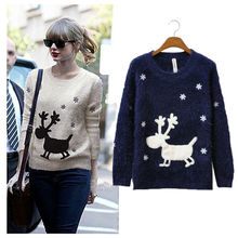 8016 Women Autumn Winter New Fashion Long Sleeve O-Neck Deer Pattern Cute Pullover Knitted Christmas Sweater