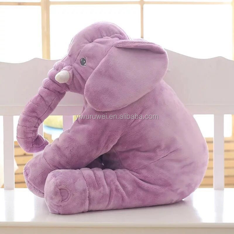 Wholesale good quality cute long nose elephant plush pillow for baby kids
