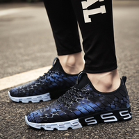 Black and white fabric shoes men running casual sport shoes