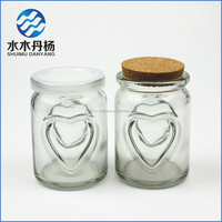 Glass mini pudding bottle Heart-shaped pudding jar with wood cork top