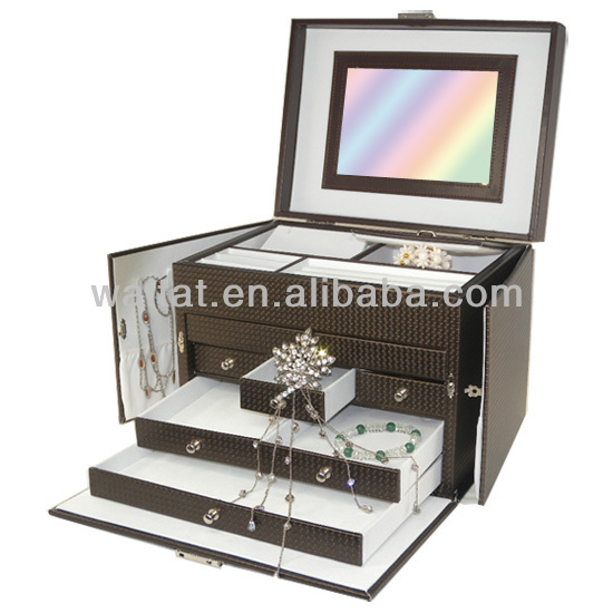 Elegant Brown Multi Drawer Wooden Jewelry Box