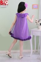 Fashion Dew Floral Net Patterns Casual Princess Dress Baby Clothes