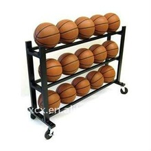 S6204 metal 3-Tier 15 ball storage display rack with wheels