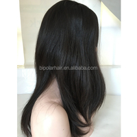 22inch Black Color #1b Straight Texture Big Layer Mongolian Hair Jewish Wig